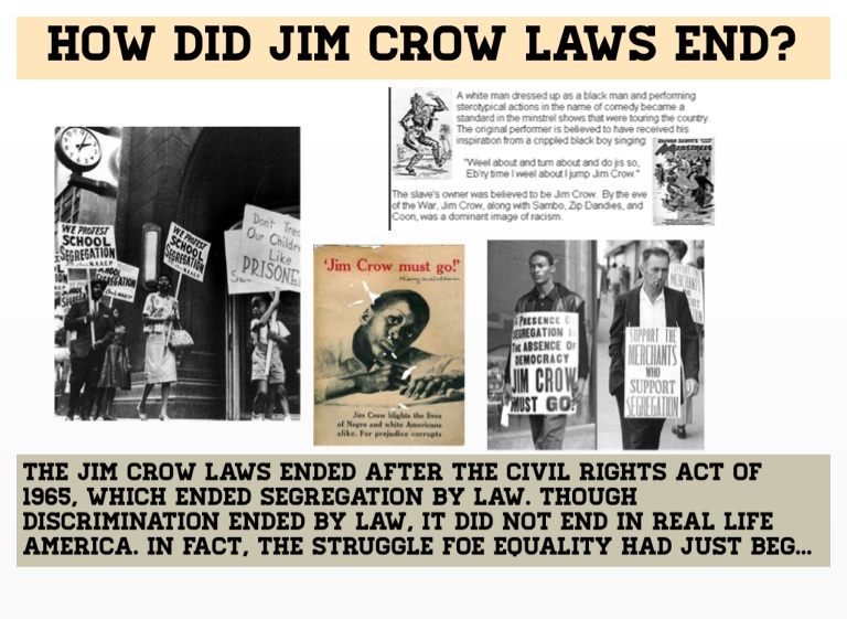 jim crow law regulations end