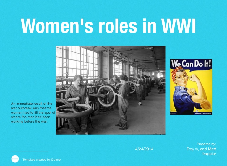 women's role in wwi before and The different roles of women in ww1 what was the position of women before the war upper-class women did not work before the war and few worked after it.