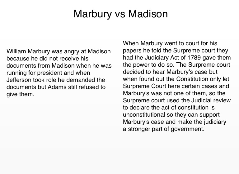 marbury vs. madison essays Order instructions in an essay of 750-1,000 words, address the following: what is the historical backdrop of marbury v madison what was justice marshall's rationale in reaching his final.