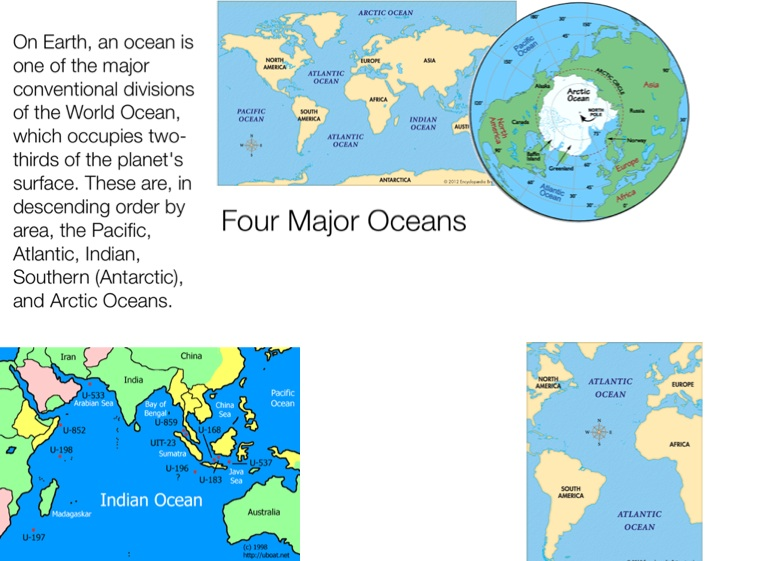 Continents And Oceans Screen On FlowVella Presentation - The four major oceans