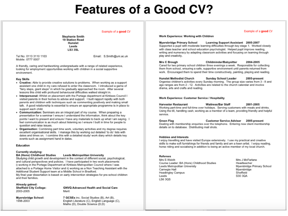 health and social care cv